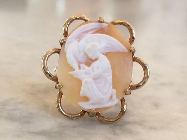 Vintage 14k Gold Cameo Ring Of Leda And The Swan