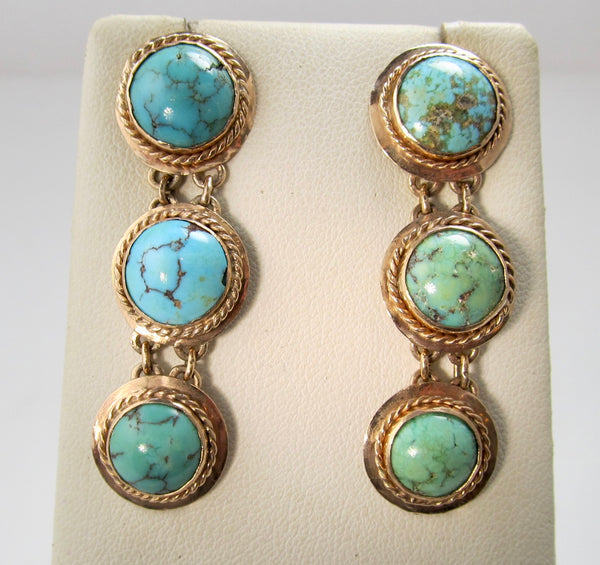 Vintage 14k rose gold turquosie drop earrings