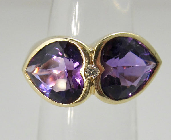 14k yellow gold double amethyst heart ring