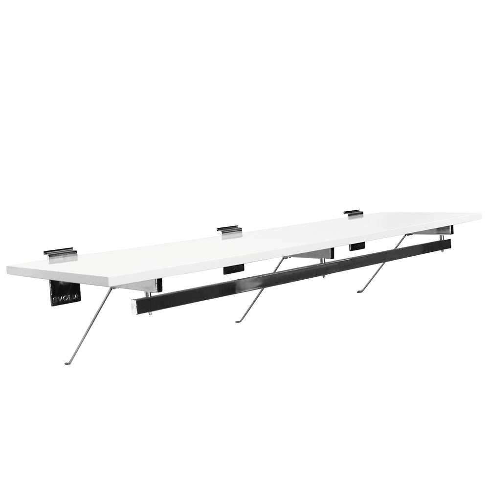 48 in. White Shelf with hang rail