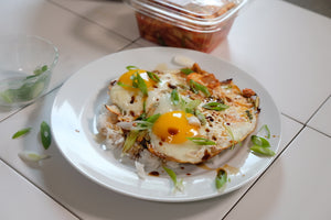 Fried Eggs with Kimchi - Frywall Splatter Guard