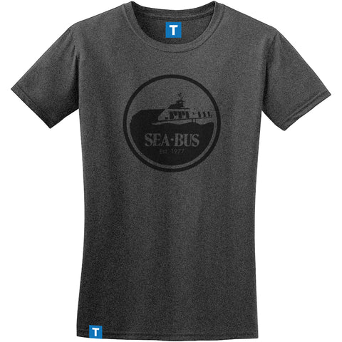 Ladies Retro SeaBus T-shirt, Dark Grey with Black Logo