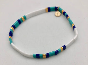 Caryn Lawn Supernova Turquoise Navy and White Bead Bracelet