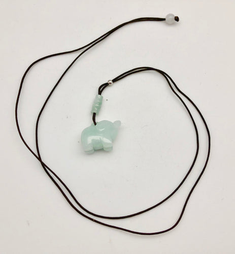 Jade by Nikolai Green Jadeite Carved Elephant and Bamboo Y Necklace - Fortune and Happiness