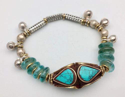 Vanessa Mooney Ocean Rain Turquoise Bracelet with African Glass Beads