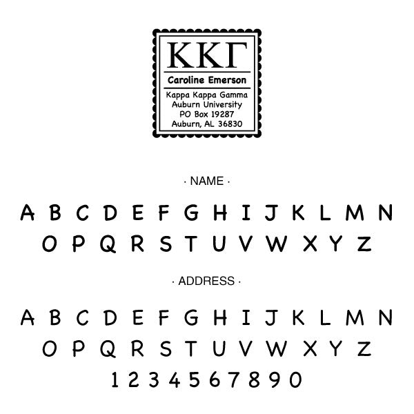 Kappa Kappa Gamma Scallop Frame Square Return Address Panhellenic Sorority Chapter Custom Designer Stamp Greek