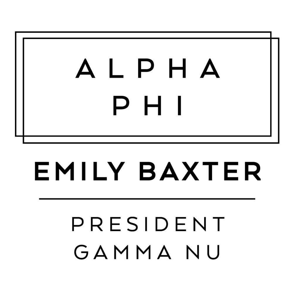 Alpha Phi Deco Style Frame Social Panhellenic Sorority Chapter Custom Designer Stamp Greek