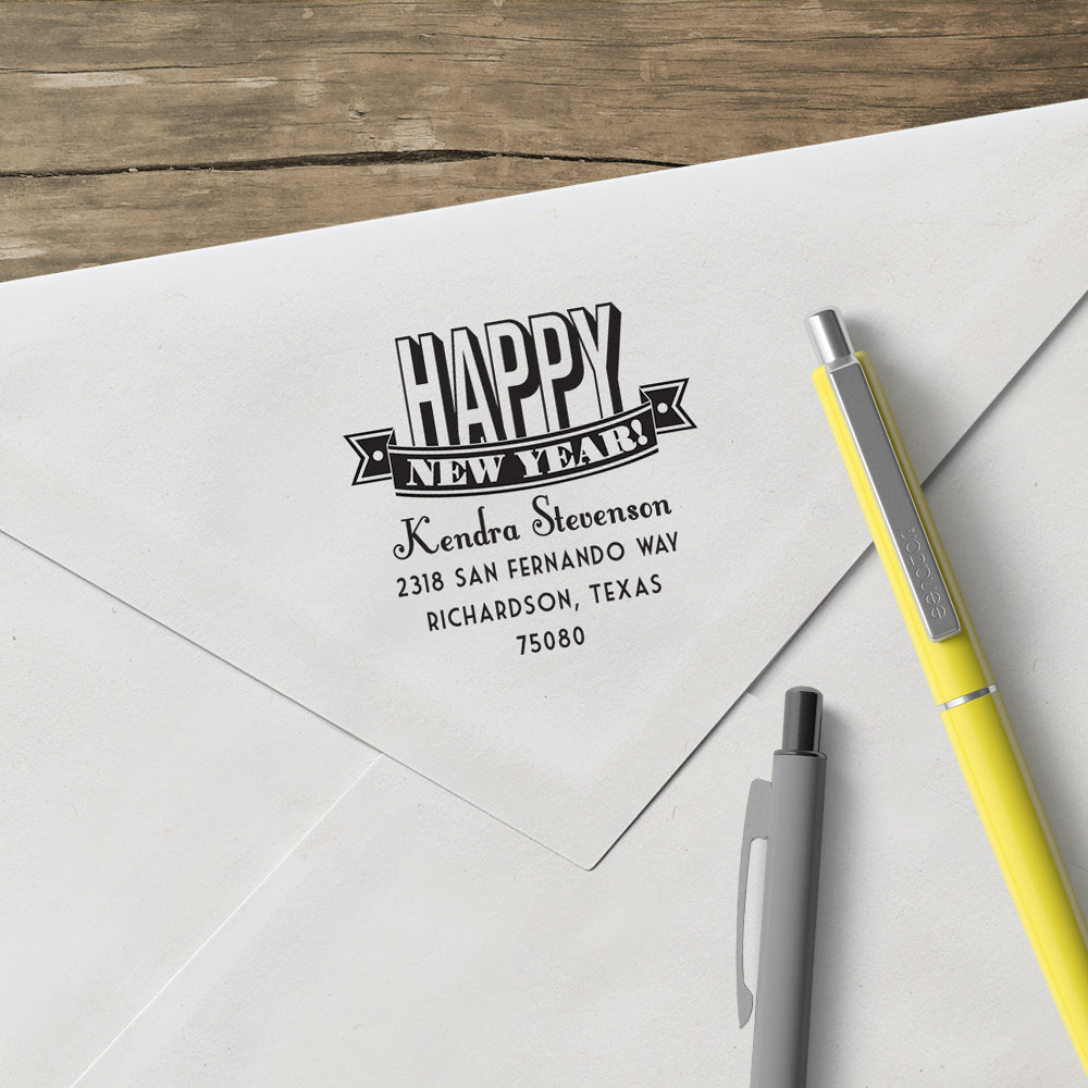 Holiday Happy New Year Family Return Address Custom Designer Stamp
