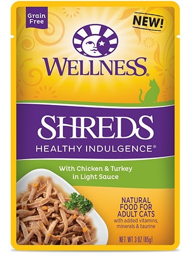 Wellness Healthy Indulgence Natural Grain Free Shreds with Chicken and Turkey in Light Sauce Cat Food Pouch