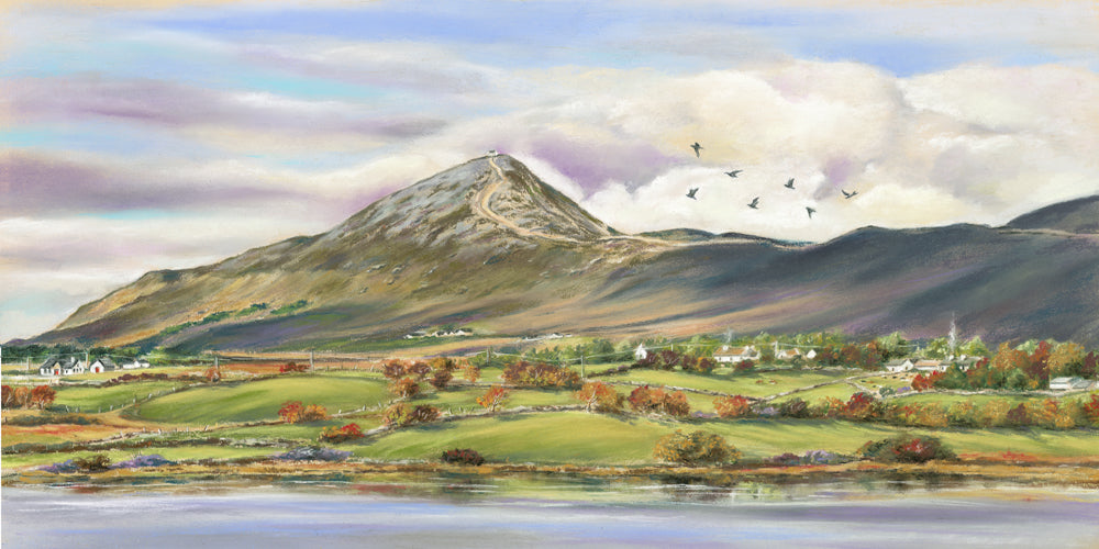 Autumn on Croagh Patrick - Fine art giclee print - Connemara, Croagh Patrick, Ireland, Irish, Mountain, Painting, Water