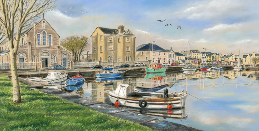 Claddagh Basin - The Calm - Fine art giclee print - Birds, Boats, Calm, Canal, Church, Claddagh, Connemara, Fishing, Galway, Galway Bay, Ireland, Painting, Street, Water