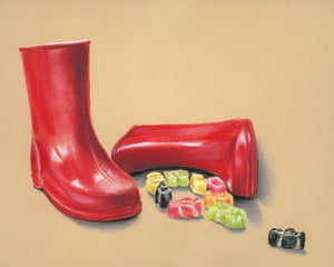Jelly Wellies - Fine art giclee print - boots, children, cute, Kids, Still Life, sweets