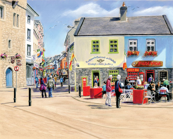 Sunshine on Quay Street - Fine art giclee print - Claddagh, Galway, Galway City, Latin Quarter, O Brien's Bridge, Spanish Arch, Townscapes