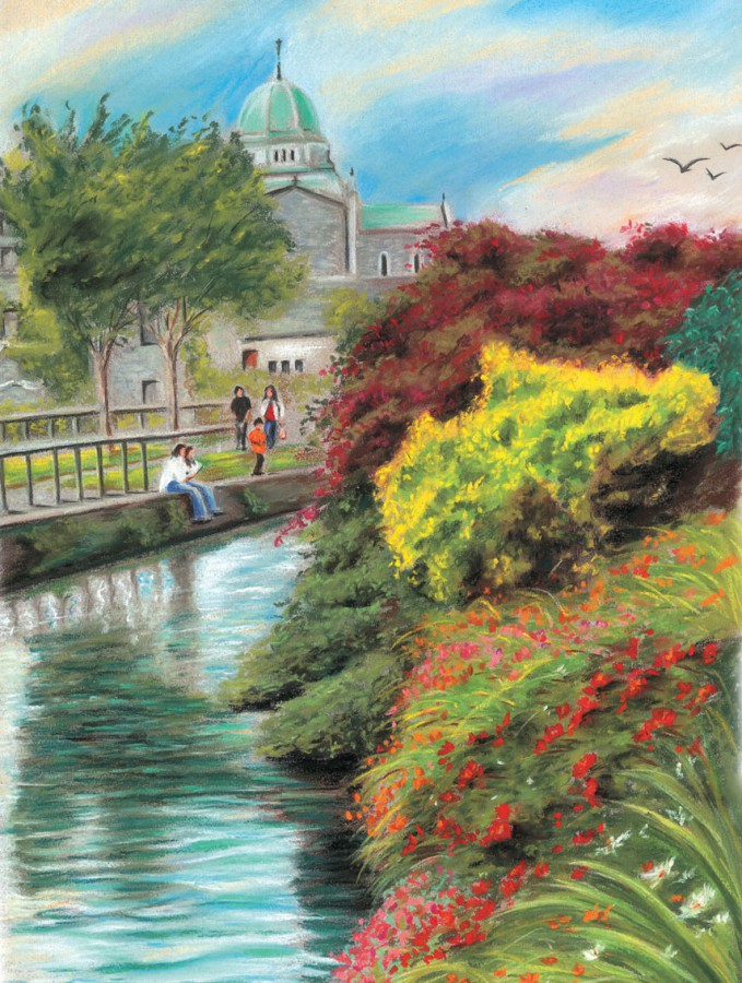 Cathedral walk - Fine art giclee print - Canal, Cathedral, Galway, People, Water