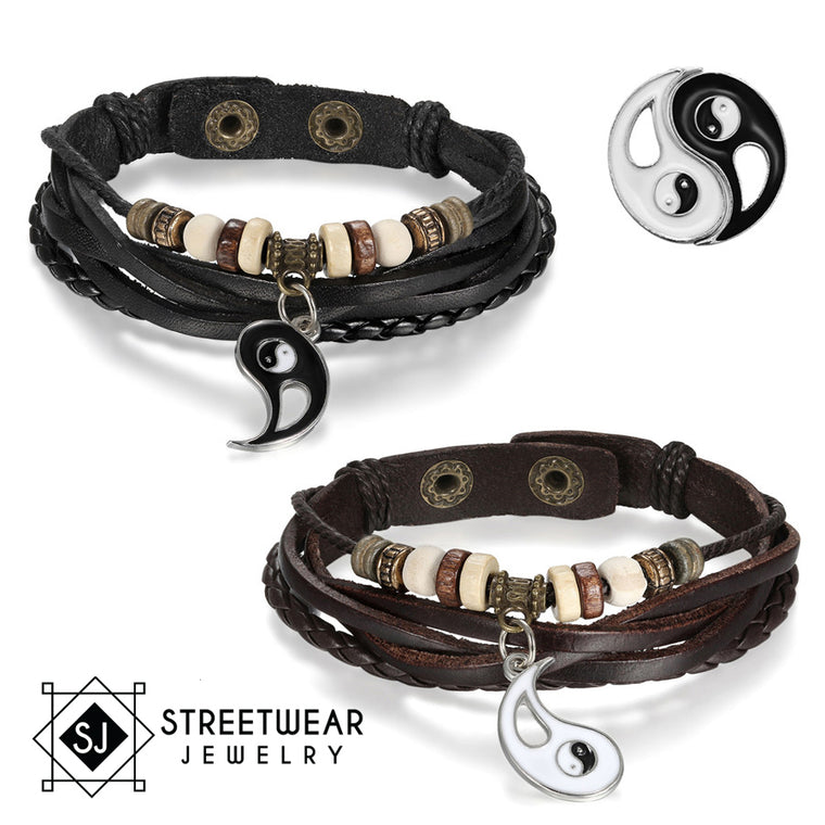 Ying Yang His And Her's Couples Leather Bracelet 2Pc Set - Streetwear Jewelry
