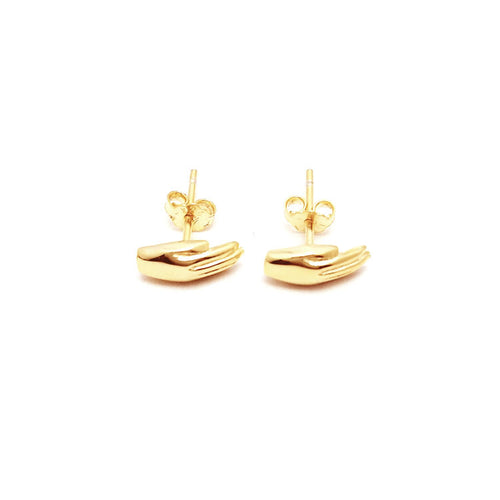 Antwerp Hand Studs Earrings - Gold Plated - Small Hands