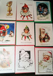 Vintage Image Christmas Cards Asst B - Embellished with soft iridescent glitter - Free U.S. Shipping