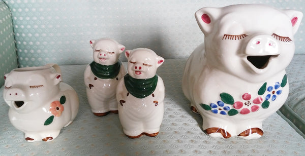Shawnee pottery Smiley Pig 4-piece set made between 1937 - 1961