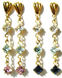 Bridesmaids Earrings - Square Vintage Rhinestone Dangles - Your Colors with a gift box