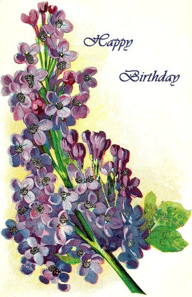 Old Fashioned Floral Birthday cards - Embellished with soft iridescent glitter - FREE MAILING