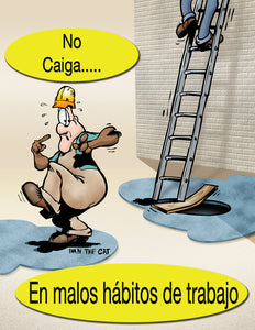 Don't Fall Into Bad Work Habits! - Spanish Safety Poster