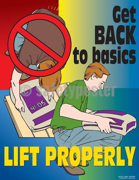 Get Back To Basics Lift Properly - Safety Poster Cartoon Posters General