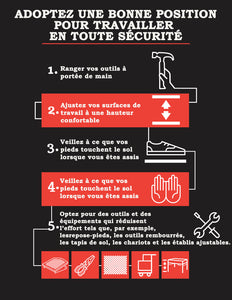 Position Yourself To Work Safely (Black-Red) - French Safety Poster