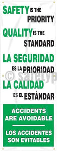 Safety Is The Priority Quality Standard (Spanish) - Vertical Banner Motivational Banners