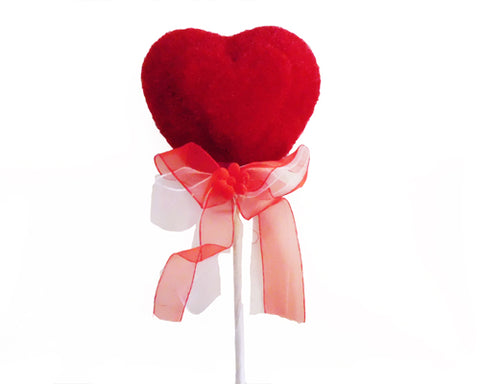 Red Heart Shaped Floral Styrofoam Pick (4 Pieces)