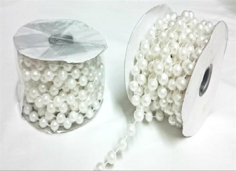White Plastic Pearl Spool Bead Garlands 12mm x 6yds