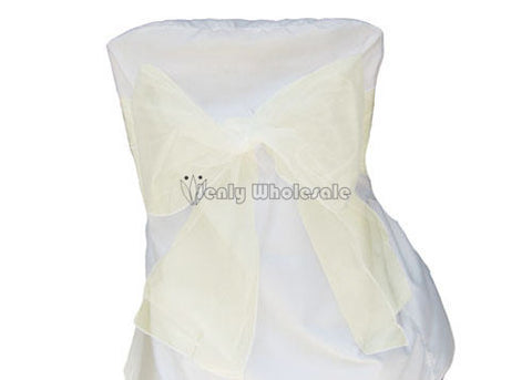 9 x 10 Ft Organza Chair Bows/Sashes Ivory (12 pieces)
