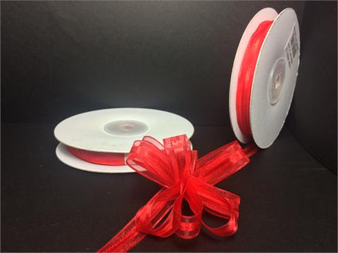 "3/8"" Red Pull Bow Ribbon (25 yard)"