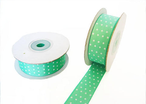 "7/8"" White Polka Dots Grosgrain Ribbon Mint 10 YDS"