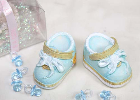 Poly Resin Baby Shoes White And Blue (12 Pieces)