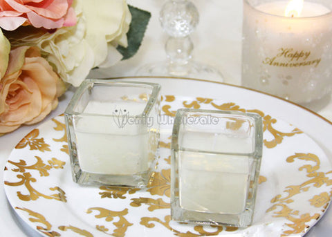 Votive Candle In Square Glass Jar (25 Pieces)