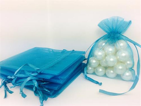 3 X 4 Turquoise Organza Bags (24 Pieces)