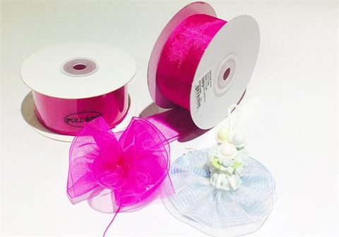 "Fuchsia 1-1/2"" Sheer Organza Capia Pull Bow Ribbon 25Yards"