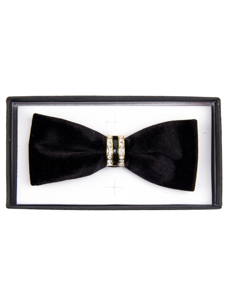 Men's Solid Color Velvet Pre-tied Adjustable Length Bow Tie with Rhinestone