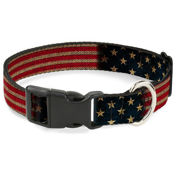 Buckle-Down Vintage US Flag Pet Collar