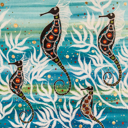 Postcard - A design by Indigenous artist Melanie Hava titled Seahorses