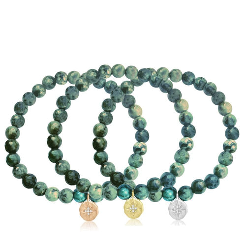 Enjoy the Journey Turquoise Bracelet with  Compass Charm