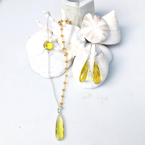 Asymmetrical Citrine Quartz Necklace for Success