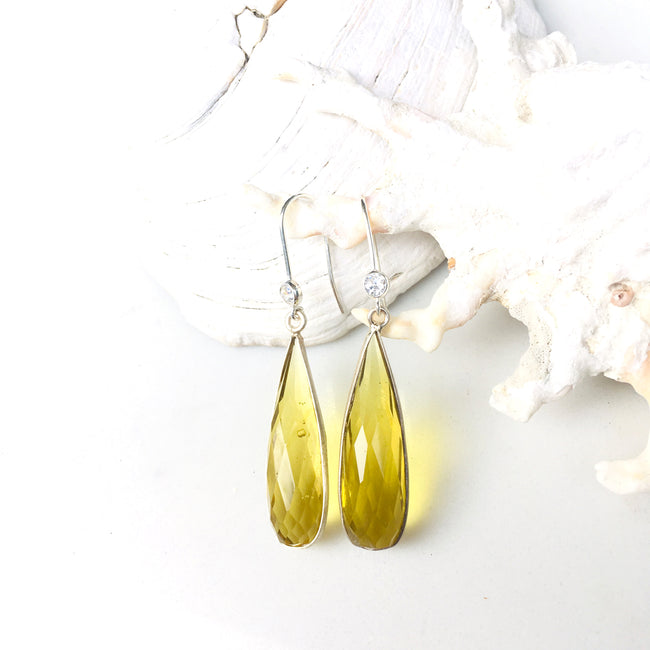 Sterling Silver Citrine Quartz Crystal Sunshine Earring for Success