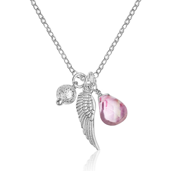 Gogh Jewelry Design's new Lovely Thoughts Protective Angel Wing Cluster necklace is magnificent and meaningful. Bring your guardian angel with you every day!
