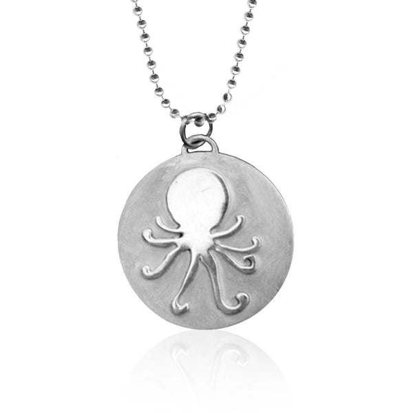 Sterling Silver Ocean Inspired Octopus Necklace from the Miss Scuba Jewelry Collection.