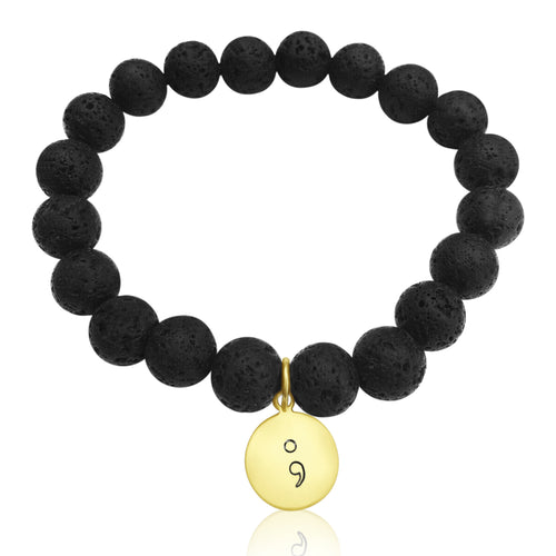 Lava Stone bracelet with Gold Filled Semicolon charm to represent the fact that you have complete power over yourself, and can choose to keep fighting, even if you feel like giving up at times.
