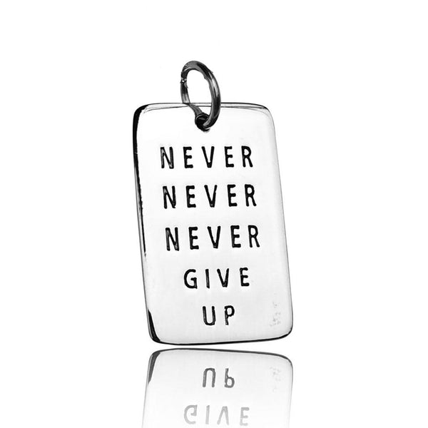 Much more than just beautiful accessory, this inspirational jewelry is very meaningful. While other jewelry genres may be used just for fashion or fun, inspirational jewelry can also hold special meaning for the wearer. This sterling silver NEVER GIVE UP dog tag will keep you going through difficult times in life.