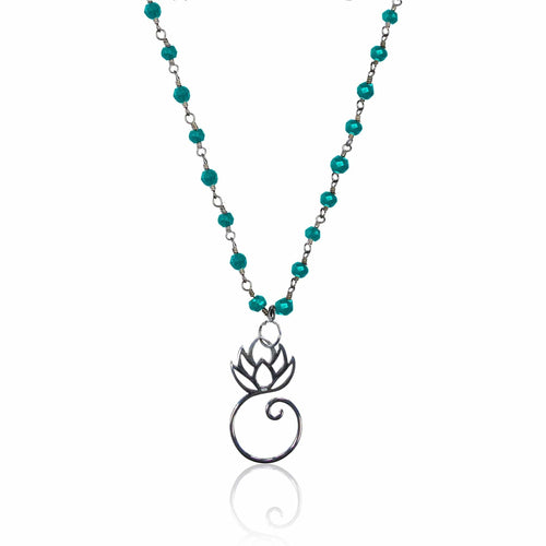 Turquoise Necklace with Lotus Flower for Exhaustion