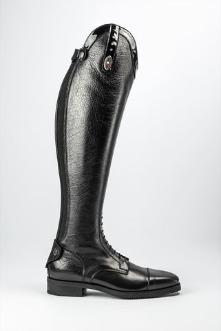 Black Leather Riding Boots With Swarovski Crystals