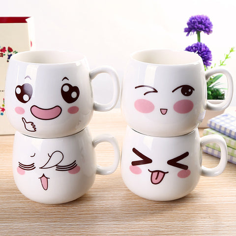Cute Ceramic Expression Faces Mugs